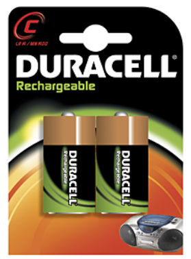 Duracell Rechargeables Nickel Metal Hydride Battery 2200mAh HR14 C